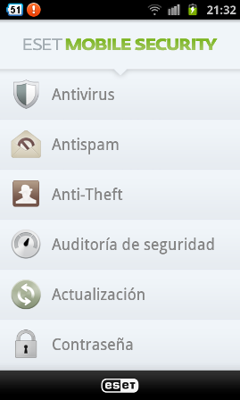 Eset Mobile Security para teléfonos celulares con SO Android